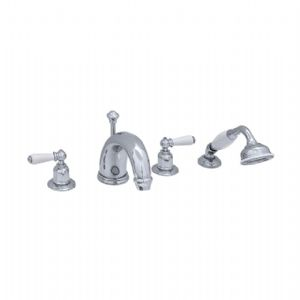 "3245 Perrin & Rowe 7"" Four Hole Bath Tap Set Lever"